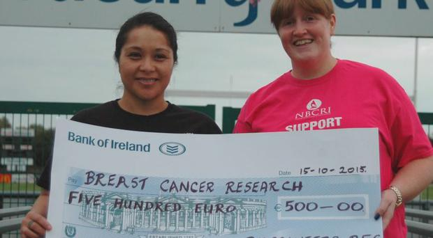 Kiripati recently presented a donation of €500 to Breast Cancer Research