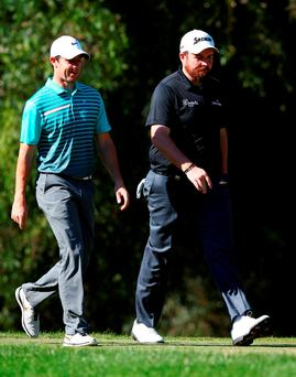 Rory McIlroy and Shane Lowry walk up the fourth fairway together during the first round of the Turkish Open at The Montgomerie Maxx Royal