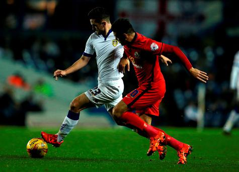 Lewis Cook of Leeds United challenged by Blackburn Rovers' Ben Marshall (Nigel Roddis/Getty Images)