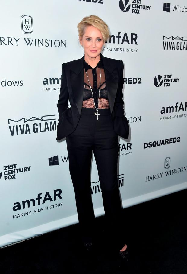 Actress Sharon Stone attends amfAR's Inspiration Gala Los Angeles at Milk Studios on October 29, 2015 in Hollywood, California. (Photo by Alberto E. Rodriguez/Getty Images)