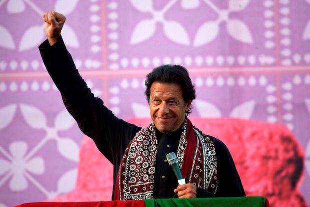 FILE - In this Friday, Nov. 21, 2014 file photo, Pakistan's cricketer-turned-politician Imran Khan gestures during an anti-government rally in Larkana, Pakistan. (AP Photo/B.K. Bangash, File)