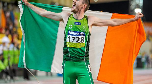 Ireland's Michael McKillop, from Glengormley, Co. Antrim, celebrates after coming first in his Men's 1500m T37 final with a time of 4:16.19. IPC Athletics World Championships. Doha, Qatar. Picture credit: Marcus Hartmann / SPORTSFILE
