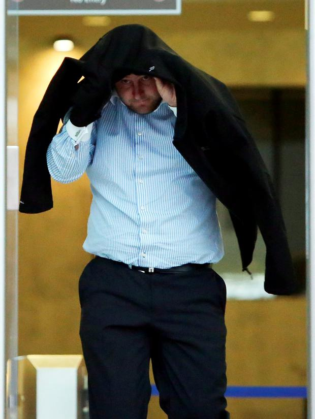 30/10/2015 Pat Burnell (34) from Kiltalown Road, Tallaght who was charged with possessing heroin and cocaine for sale or supply arrives at the Dublin District Court. Photo: Collins Courts