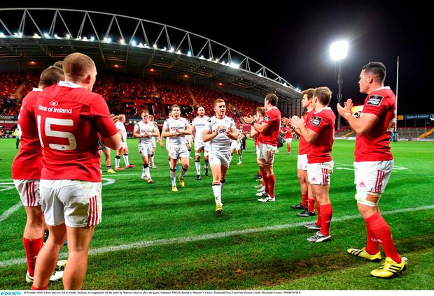 Ulster players, led by Paddy Jackson, are applauded off the pitch by Munster players after the game. Guinness PRO12, Round 6, Munster v Ulster, Thomond Park, Limerick. Picture credit: Diarmuid Greene / SPORTSFILE