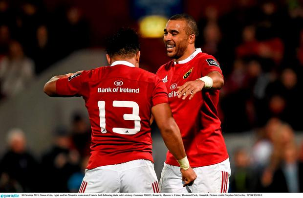Simon Zebo, right, and his Munster team-mate Francis Saili following their side's victory. Guinness PRO12, Round 6, Munster v Ulster, Thomond Park, Limerick. Picture credit: Stephen McCarthy / SPORTSFILE