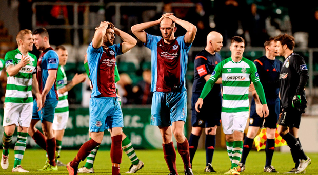Lee Duffy, left, and Alan Byrne, Drogheda United, react to the final whistle confirming their team's relegation after their loss to Shamrock Rovers. SSE Airtricity League Premier Division, Shamrock Rovers v Drogheda United, Tallaght Stadium, Tallaght, Co. Dublin. Picture credit: Seb Daly / SPORTSFILE