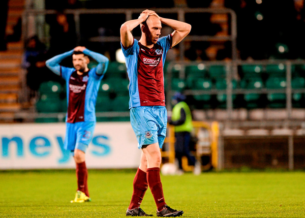 Alan Byrne, Drogheda United, reacts to the final whistle, confirming his team's relegation after their loss to Shamrock Rovers. SSE Airtricity League Premier Division, Shamrock Rovers v Drogheda United, Tallaght Stadium, Tallaght, Co. Dublin. Picture credit: Seb Daly / SPORTSFILE