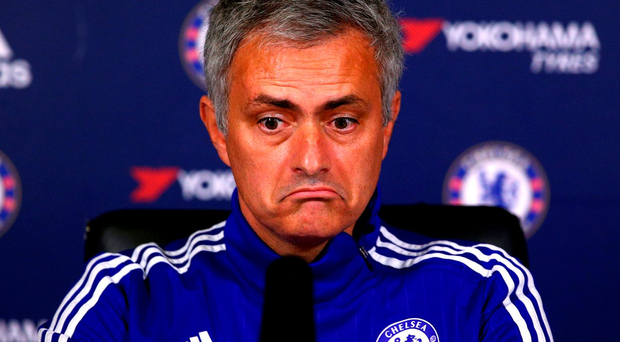 Jose Mourinho reacts to questions during a press conference in London yesterday