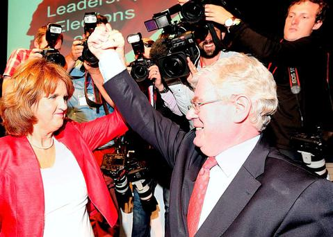Joan Burton and Eamon Gilmore pictured in Dublin's Mansion House on the election of Joan Burton as Labour leader