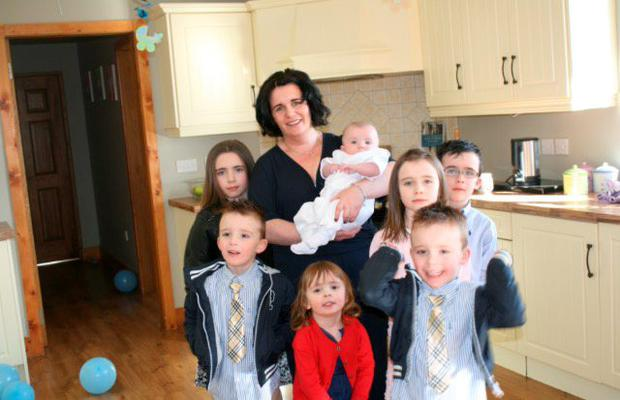 Jacqui O'Shaughnessy, from Termonfeckin, Co. Louth, with her seven children