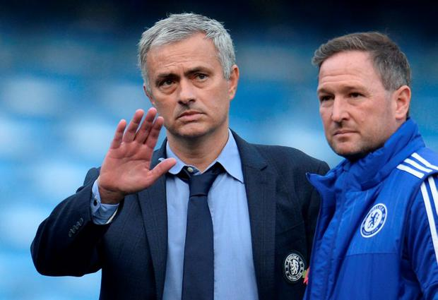 Chelsea manager Jose Mourinho with first team coach Steve Holland after the match Reuters / Philip Brown