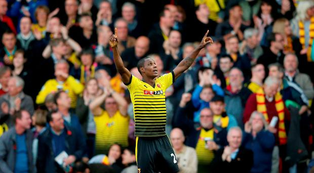 Watford's Odion Ighalo celebrates after scoring their second goal during the Barclays Premier League match at Vicarage Road, London. PRESS ASSOCIATION Photo. Picture date: Saturday October 31, 2015. See PA story SOCCER Watford. Photo credit should read: Scott Heavey/PA Wire. RESTRICTIONS: EDITORIAL USE ONLY No use with unauthorised audio, video, data, fixture lists, club/league logos or