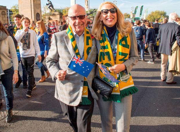 News Corp Executive Chairman Rupert Murdoch arriving with Jerry Hall at Twickenham in south west London