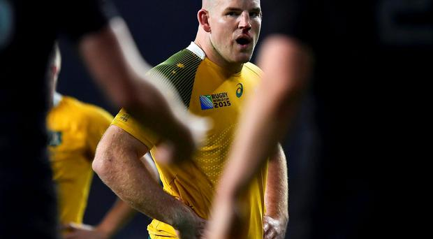 Australia aptain Stephen Moore of Australia reacts during the Rugby World Cup final