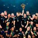 Worthy Champions: New Zealand captain Richie McCaw lifts the Webb Ellis Cup after winning the Rugby World Cup Final at Twickenham