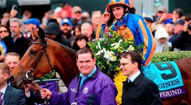 Ryan Moore salutes the crowd on Found