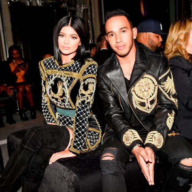 Kylie Jenner in H&M x Balmain embellished dress at the launch of the collection in October 2015.