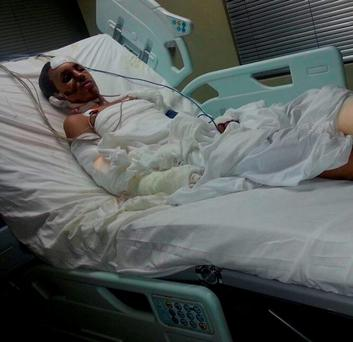 HORROR OF WAR: Abdullah al-Sanabani, a 15-year-old child prodigy who once dreamed of leading a Yemeni space programme, may now lose his leg and fingers after a suspected Saudi-led airstrike on a family wedding killed many family members