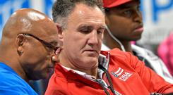TEAM USA : Billy Walsh, decked out in US colours, discusses tactics with a colleague at the Women's Olympic Boxing team trials at Cook Convention Centre, Memphis, Tennessee