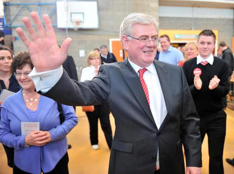SWEET VICTORY: Eamon salutes his supporters while wife Carol looks on proudly