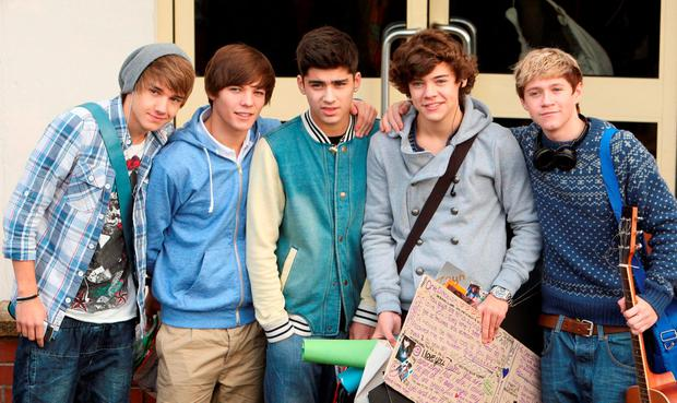 Liam Payne, Louis Tomlinson, Zayn Malik, Harry Styles and Niall Horan arriving for X Factor rehearsals in 2010
