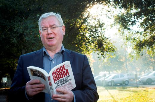 Former Tanaiste Eamon Gilmore, before going into RTE's Miriam O'Callaghan radio show to talk about his new book