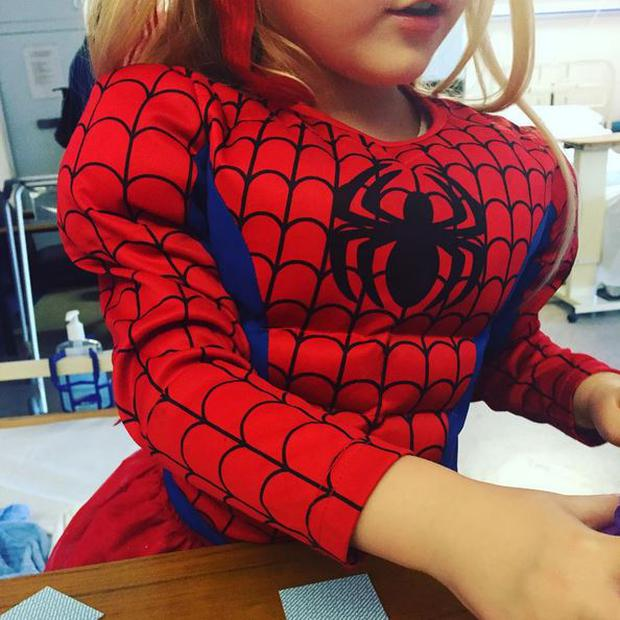 Kerri Nicole's daughter Kayla visits her in hospital dressed as Spiderman Photo: Instagram @KerriNicoleBlanc