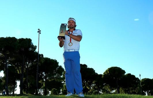 Victor Dubuisson after victory in the Turkish Airlines Open at The Montgomerie Maxx Royal Golf Club