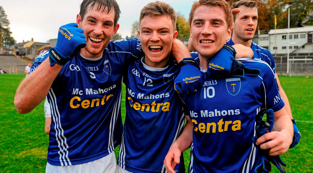 James Turley, Conor McCarthy and Orin Heaphey of Scotstown celebrate their team's victory over Slaughtneil at the final whistle. Picture credit: Seb Daly / SPORTSFILE