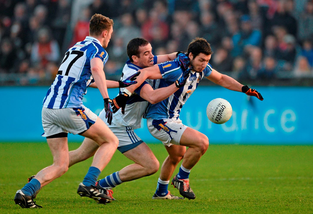 Bob Dwan, right, and Aran Waters, Ballyboden St Endas of in action against Ger Brennan, St Vincents GAA.