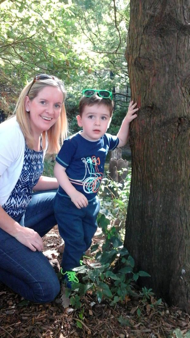 Proud mum Fidelma Dolan watches Mark take a few steps after succesful surgery