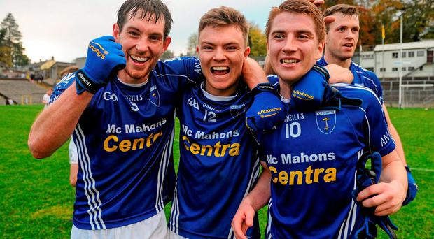 Scotstown's James Turley, Conor McCarthy and Orin Heaphey, Scotstown, celebrate their team's victory over Slaughtneil at the final whistle of the AIB Ulster GAA Senior Club Football Championship Quarter-Finals
