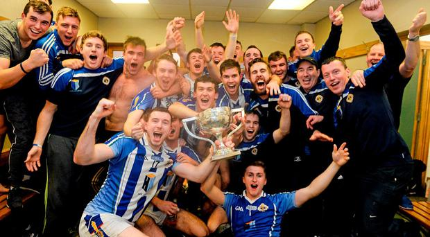 The Ballyboden players celebrate with the cup in the dressing room