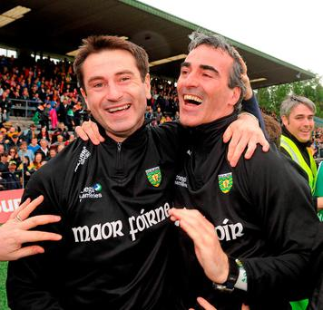 In happier times – Rory Gallagher celebrates with Jim McGuiness after Donegal's Ulster SFC final victory in 2011