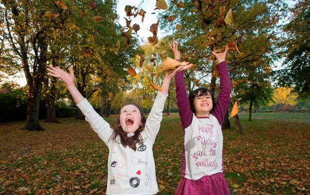 Juliette Comlen Hamill age 9 and Lucy Blayney age 9 having fun in Herbert Park, Dublin today