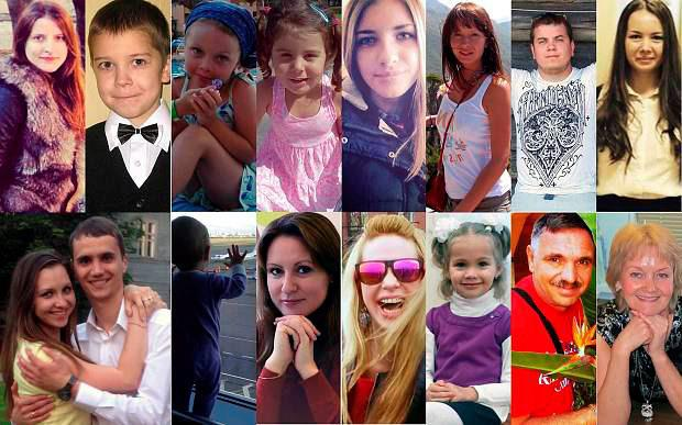Victims of the Russian plane crash in Sinai (From top left):Anastasia Bogdanova, Anton Bogdanov, Alena Moiseeva, Diana Golenkova, Maria Ivleva,Aleksandra Illarionova, Leonid Gordin, Aleksandra Chernova, (from bottom left)Aleksei and Tatiana Gromov, their 10-month-old baby Darina Gromov, Valeria Kantcerova, Nina Golubeva, Vera Gerasina, Victor Anisimov and (bottom right) Svetlana Dudochkina. Photo: Instagram/ Tatyana Gromova/east2westnews/Wil​l Stewart
