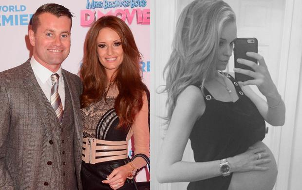 Shay Given and girlfriend Becky Gibson and Becky's baby bump (right)