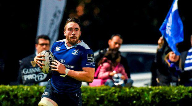 Jack Conan, Leinster, scores his side's third try of the game