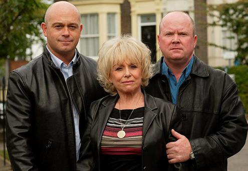 © BBC ROSS KEMP as Grant Mitchell, BARBARA WINDSOR as Peggy Mitchell and STEVE MCFADDEN as Phil Mitchell.