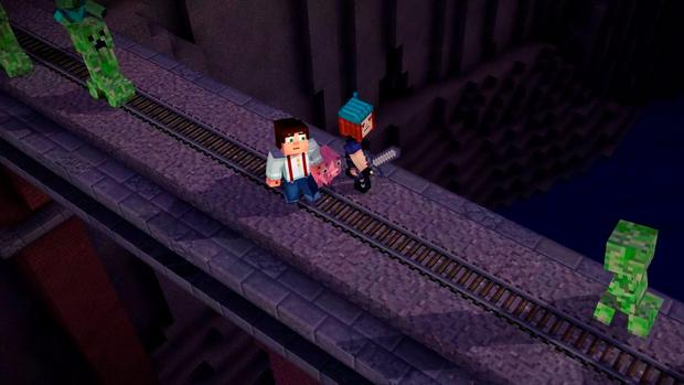 Minecraft: Story Mode – fight the zombies or jump off the bridge, this scene is typical of the choices you're asked to make