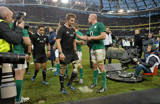 Paul O'Connell congratulates New Zealand captain Richie McCaw after the Autumn international in 2013. Neither will feature next November.
