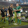 Paul O'Connell congratulates New Zealand captain Richie McCaw after the Autumn international in 2013