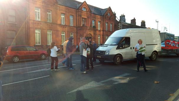 Supporters of Jobstown protesters gather outside courts