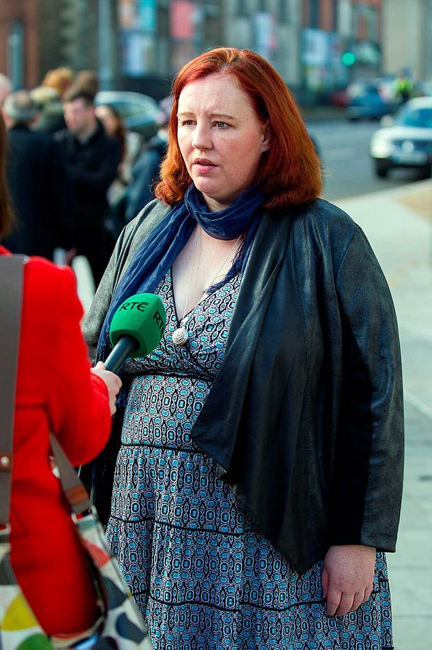 Rita Broderick speaking to media outside court after her father James Broderick was jailed for seven years