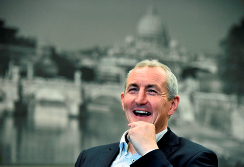 John Caulfield was in optimistic form in Cork yesterday head of Sunday's FAI Cup final