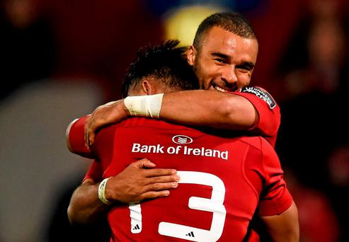 Simon Zebo, right, and his Munster team-mate Francis Saili following their side's victory over Ulster last Friday.
