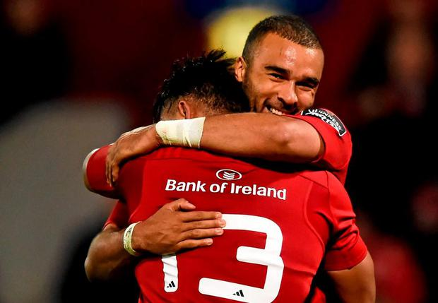 Simon Zebo, right, and his Munster team-mate Francis Saili following their side's victory over Ulster last Friday. Picture credit: Stephen McCarthy / SPORTSFILE