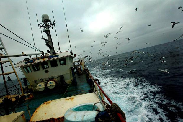 Work aboard a trawler involves long hours and poor pay for some foreign fishermen
