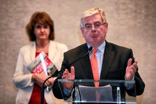 Former Labour Party leader Eamon Gilmore and Joan Burton