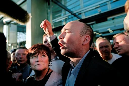TDs Joan Collins and Paul Murphy address supporters